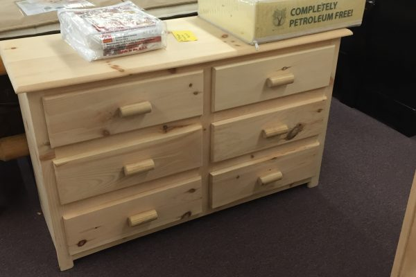 Unfinished Pine 6 Drawer Dresser